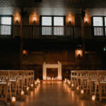 Beautiful wedding setup with candles in The Great Hall venue. Toronto