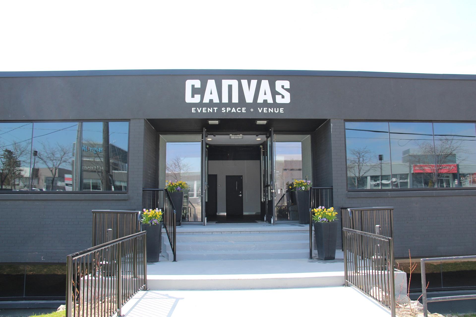 Canvas Venue, exterior view of front entrance.