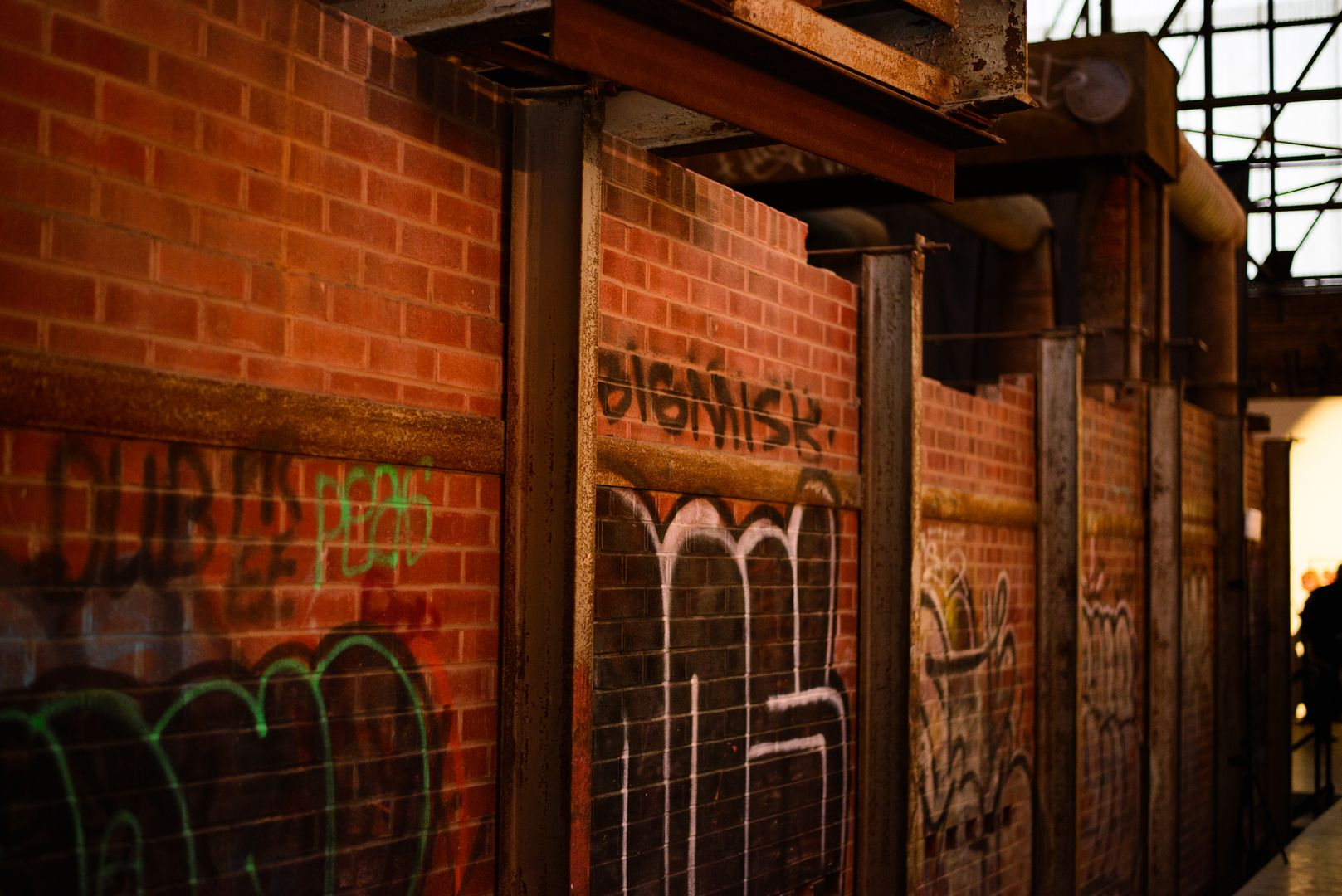 Interior of Evergreen Brick Works with graffiti