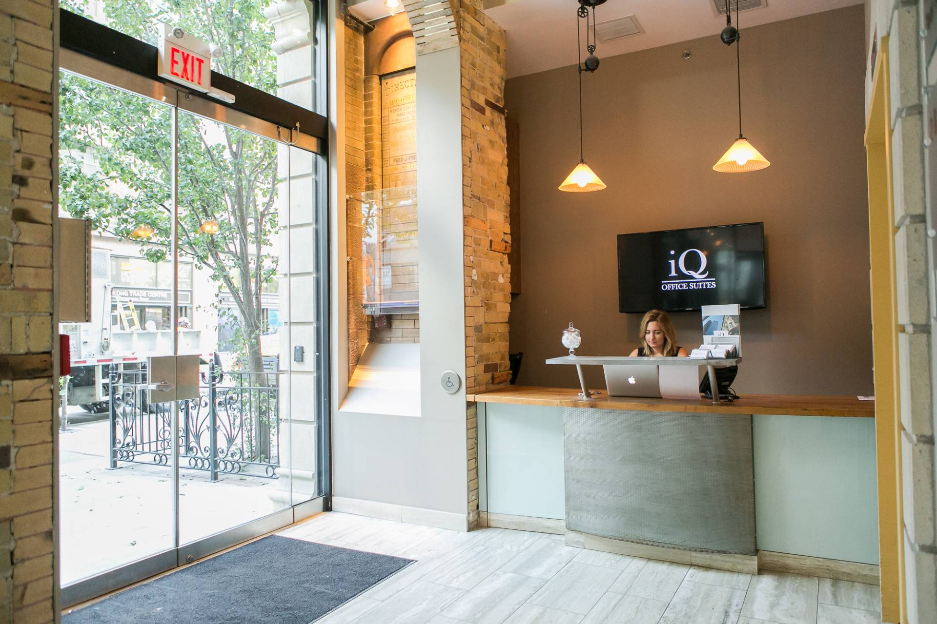 Reception Area, Front Desk, Large Glass Doors.