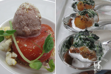 Left: Tomato Tarte Tatin topped with Black Olive Sorbet and Basil Oil Right: Oysters Rockefeller with a sweet Spinach Marshmallow, torched on-site