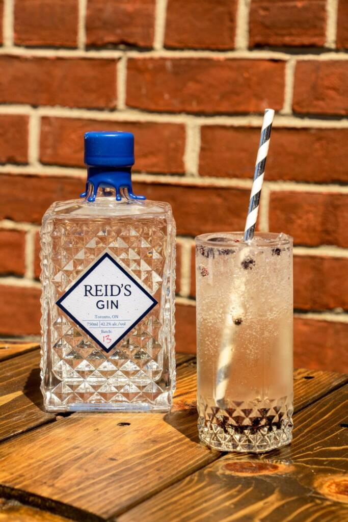 bottle of Reid's Gin with a Gin and Tonic in a highball