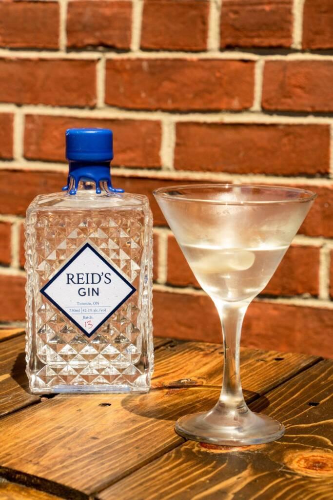 Martini Glass, Gin Bottle, Brick wall background
