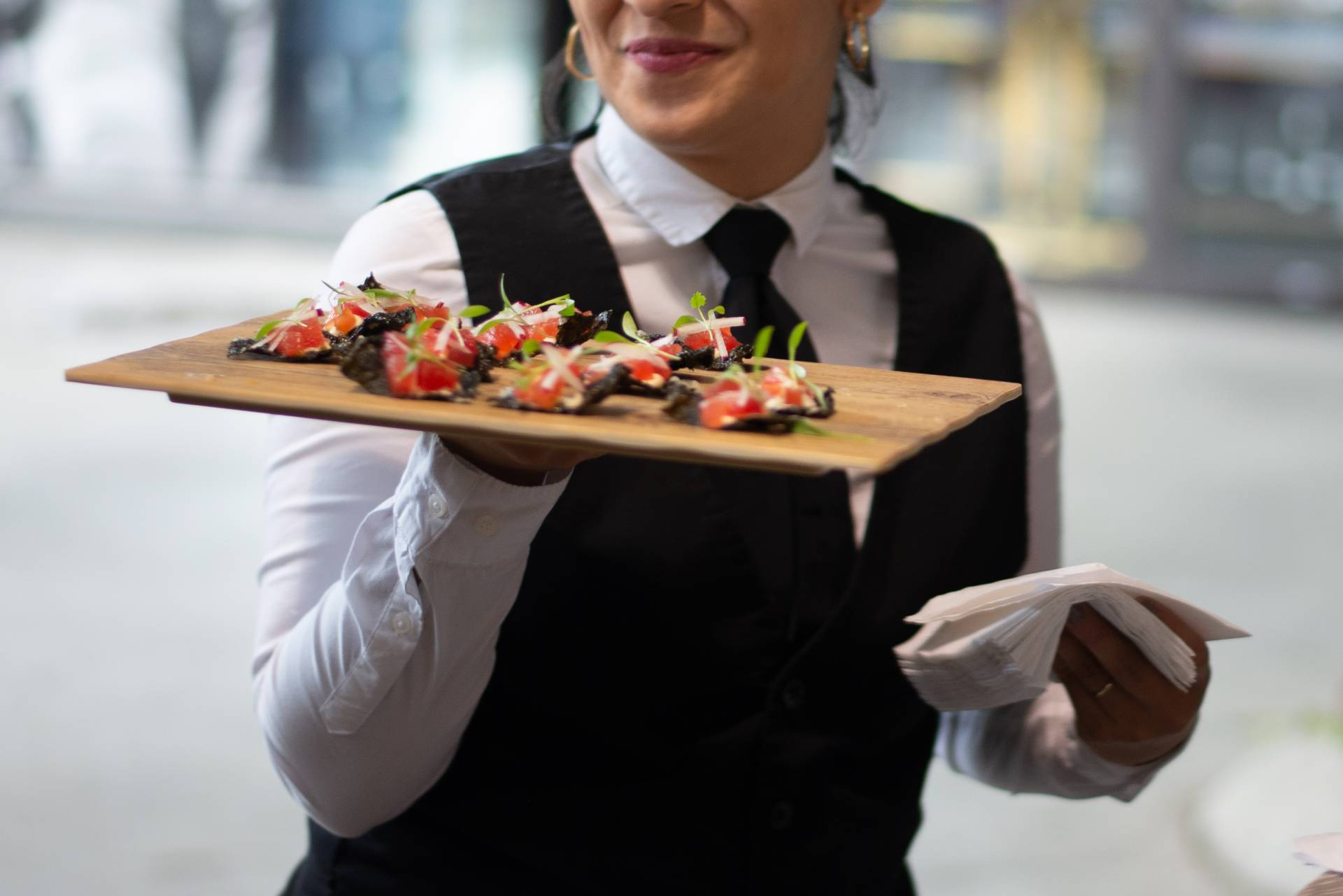 Caterer Serving passed food